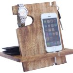 Wooden Docking Station Catchall and Phone Charging Stand