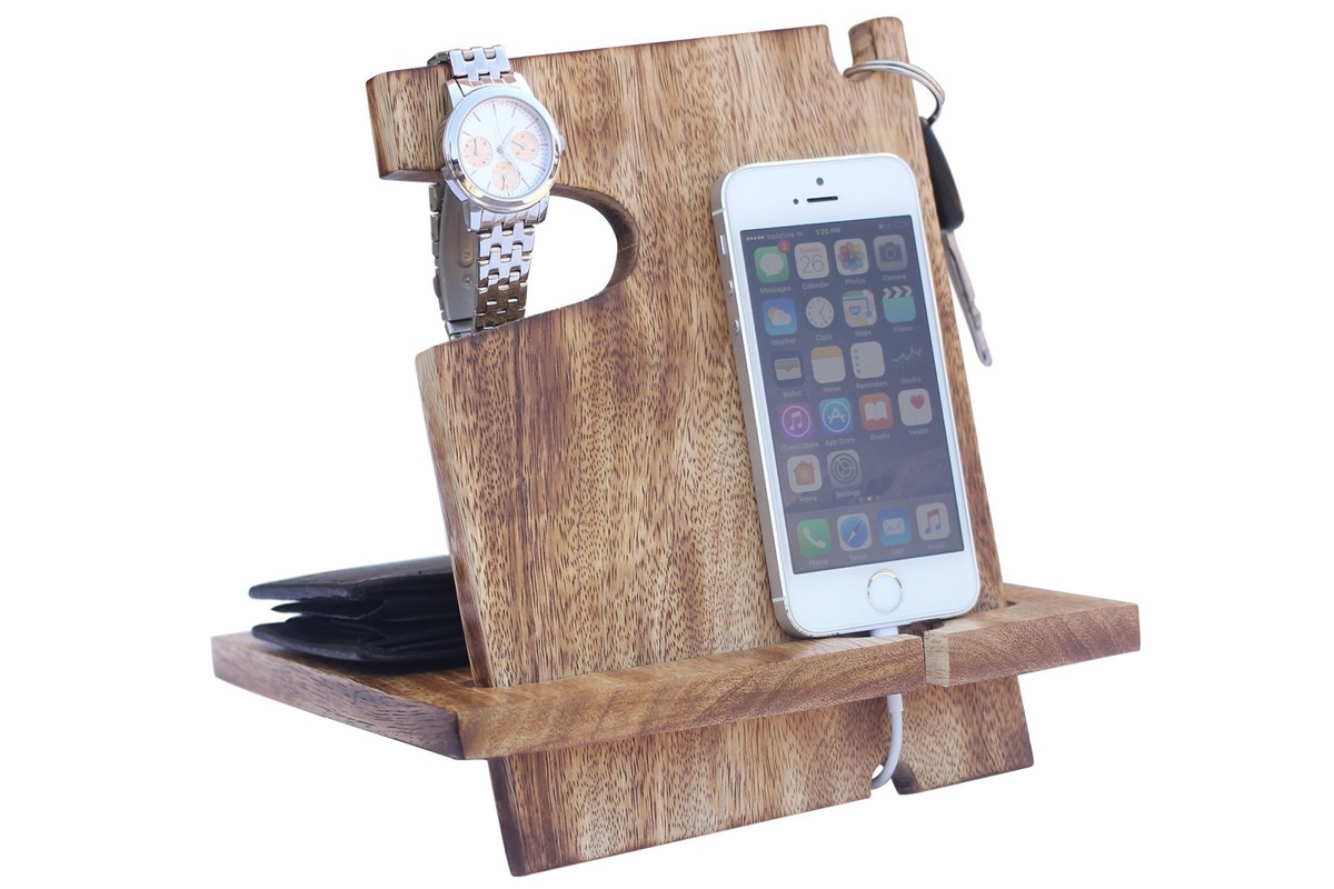 Wooden docking station catchall and phone charging stand mugwomp