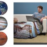 Round planet print fleece throw blankets