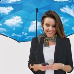 umbrella with sunny sky print inside