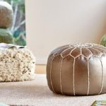 metallic leather floor pouf