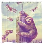 sloth godzilla shower curtain