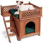 two story wooden dog house